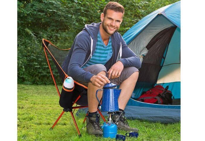 Silla de camping plegable con respaldo alto y portavasos HOMECALL